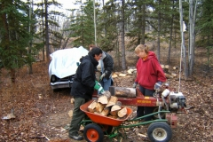 splitting wood for retreats