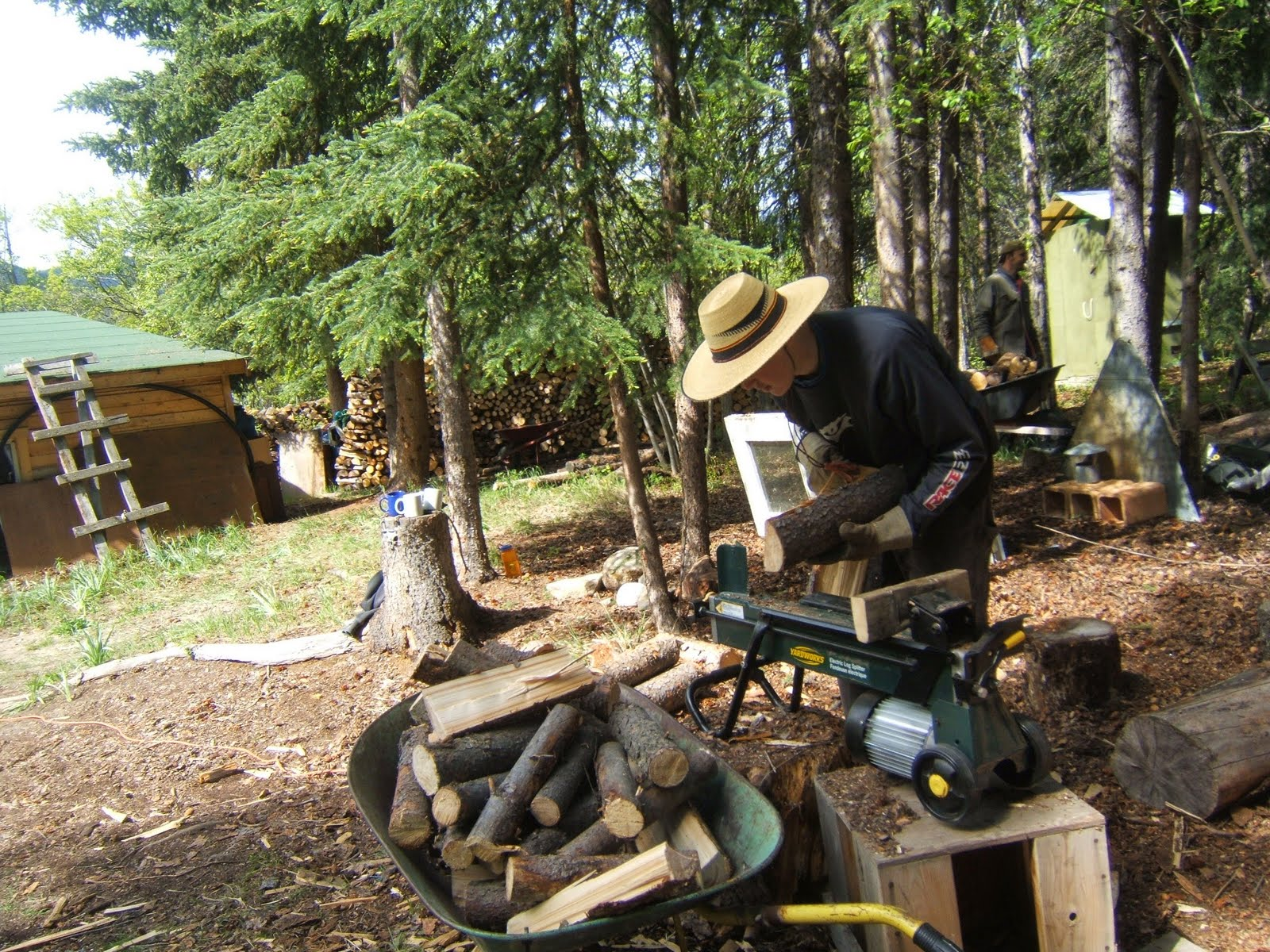 setting up retreatant with firewood